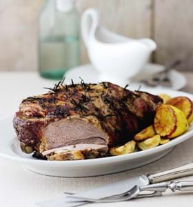 Lemon and Rosemary Roast Leg of Lamb with a Lemon and White Wine Gravy