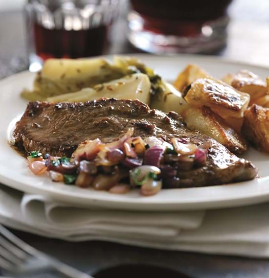Madras-Style Leg Steaks with Red Onions,Coriander and Braised Fennel