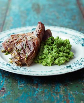 Marinated Lamb Chops with Crushed Broad Beans