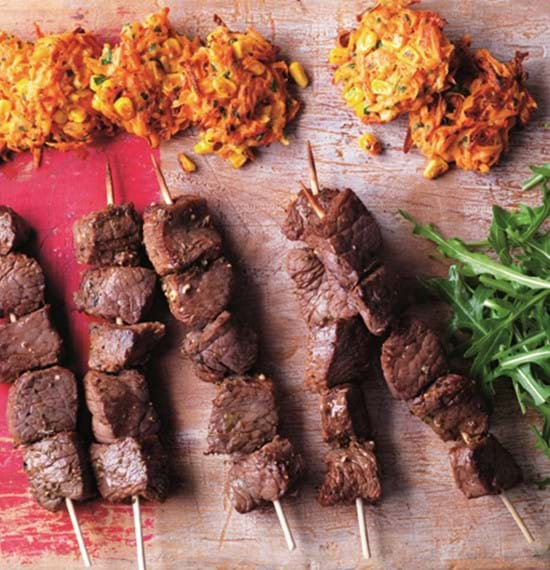 Mini Anticuchos Beef Skewers with Sweetcorn Fritters