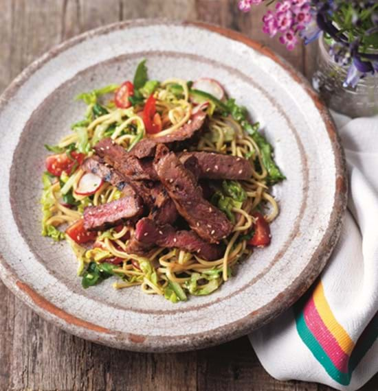 Mustard Marinated Steaks with Noodles,Cucumber and Radish Salad