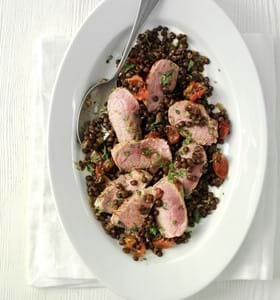 Pan Seared Coconut Cannon of Lamb with Puy Lentils