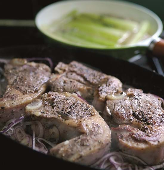 Pan-Fried Lamb Chops with Red Onion and Braised Celery