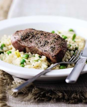Pan-Fried Lamb with Mint and Pea Risotto