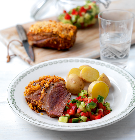 Paprika and Parmesan Lamb with Spring Salsa