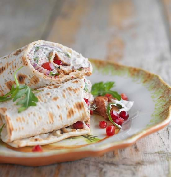Persian Spiced Lamb Neck Fillets with Pomegranate, Spiced Yogurt and Tortilla Wraps -Recipe courtesy of Sabrina Ghayour