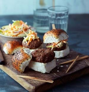 Piquant Mini Burgers with Apple and Chilli Slaw