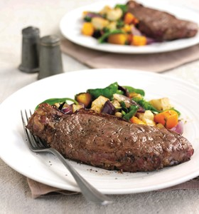Piquant Steaks with Warm Roasted Vegetables