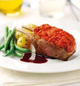 Red Pepper and Rosemary Crusted 2-bone Mini Racks of Lamb with Redcurrant Jus