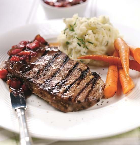 Rib-Eye Steaks with Onion and Rhubarb Chutney