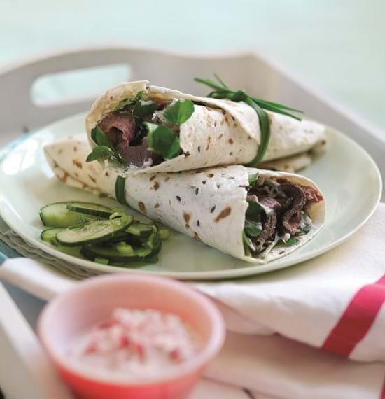 Roast Beef and Watercress Wraps with Radish Raita