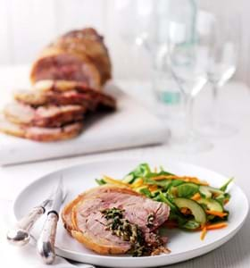 Roast Boneless Shoulder of Lamb with Watercress, Goats Cheese and Mint Stuffing