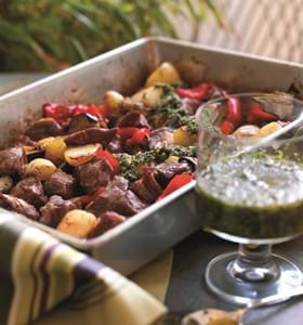 Roast Lamb and Summer Vegetables with Mint Pesto
