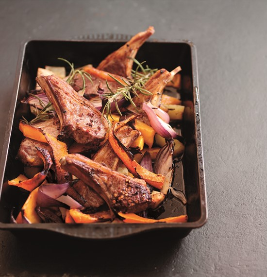 Roast Lamb Cutlets with Pumpkin and Autumn Fruit Relish