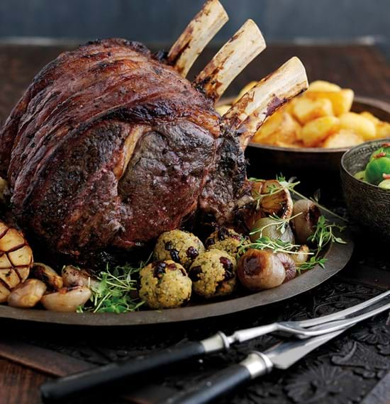 Roast Rib of Beef with Thyme, Port and Redcurrants