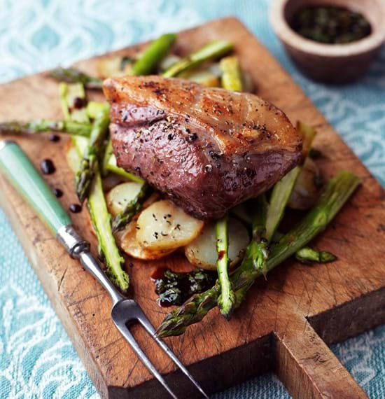 Roasted Lamb Rump with Potatoes, Asparagus and Mint Dressing