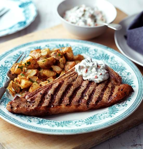 Sirloin Steaks with Flaming Mayonnaise