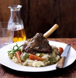 Slow Cooked Lamb Shanks with Pearl Barley