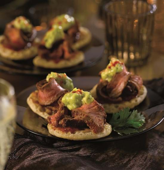 Spiced Beef and Chilli Blinis