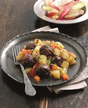 Spiced Lamb Meatballs with Tomatoes, Marjoram and Braised Potatoes