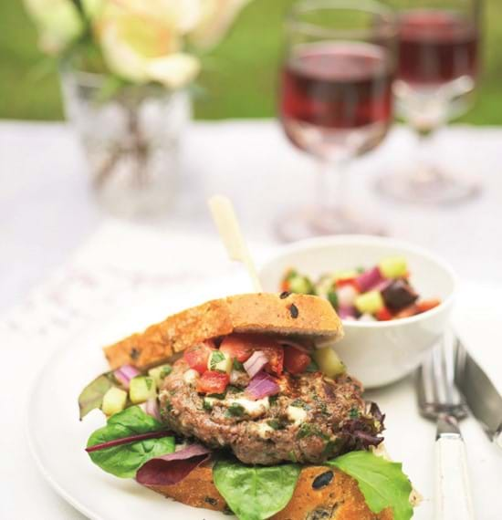 Spicy Lamb and Feta Burgers with Cucumber Salsa