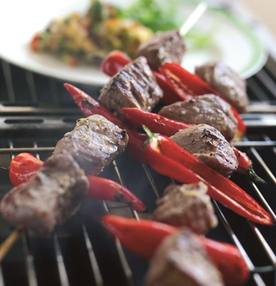 Spicy Lamb Kebabs with Mint and Nectarine Salsa