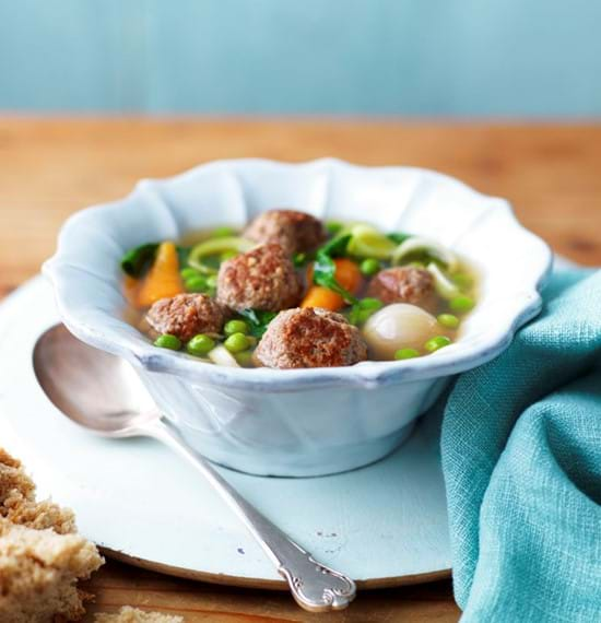 Spring Lamb Meatball Broth with Vegetables (1)
