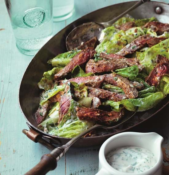 Steak Salad with Pastrami Spices and Buttermilk Dressing