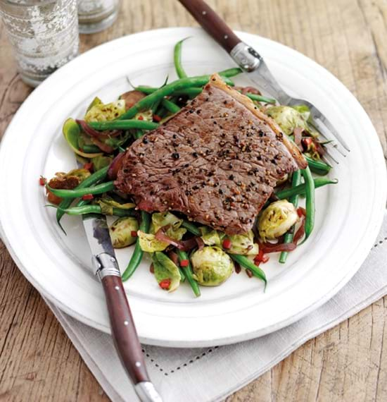 Steak with Warm Brussels Sprouts Salad