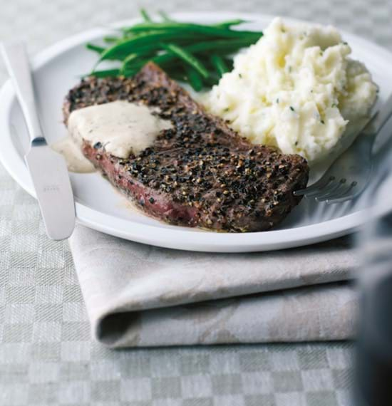 Steaks with Horseradish and Peppercorn Sauce
