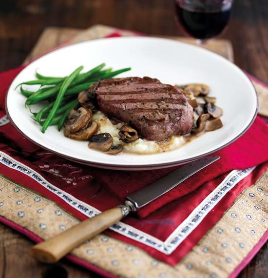 Steaks with Mushroom Sauce and Cauliflower Puree