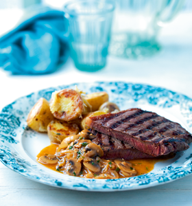Steaks with Shallot and Mushroom Sauce