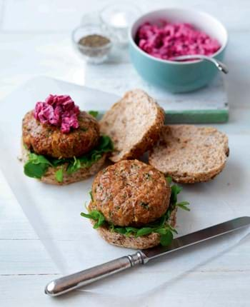 Sweet Chilli and Herb Burgers with Beetroot and Mint Relish