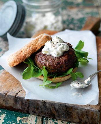 Tasty Burgers with Pickled Cucumber Relish