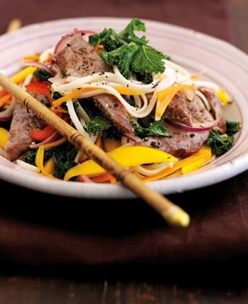 Warm Steak Salad  with Mango and Noodles