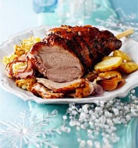 Orange Marmalade and Port Glazed Lamb with Apricot and Coriander Stuffing