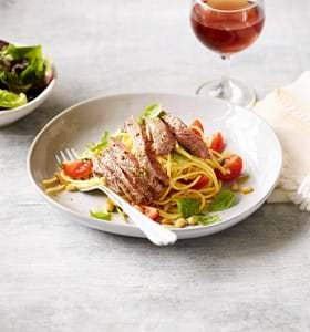Steak with Pine Nut Spaghetti