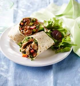 Smoky Beef Wraps with Kale, Onion and Red Pepper