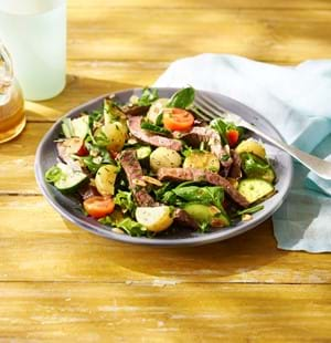 Hot Seared Beef Salad with Honey Dressing (thin cuts)