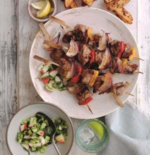 Honey and Mustard Lamb Kebabs with Cucumber Salsa