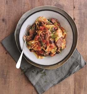 Lamb, Tomato and Aubergine Pasta