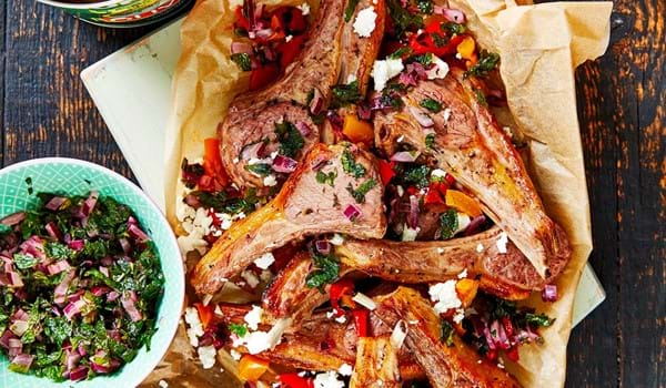 Greek-Style Lamb Stacks with Mint Relish