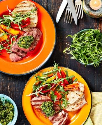 Lamb Leg Steaks with Watercress Pesto
