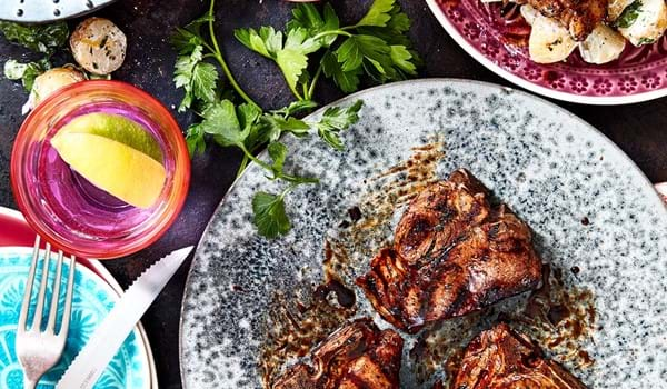 Minty Lamb Steaks with Potato and Watercress Salad