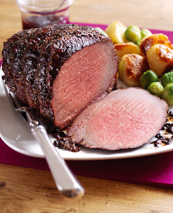 Rosemary Roast Beef with Balsamic and Cranberry Glaze