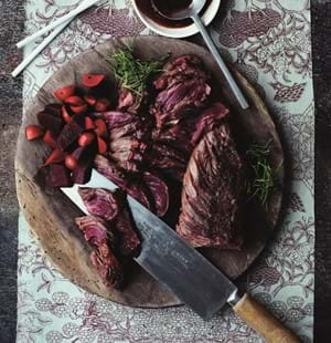 Steak with Pickled Radish and Beetroot