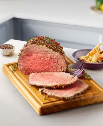 Roast Beef with a Peppercorn and Herb Crust
