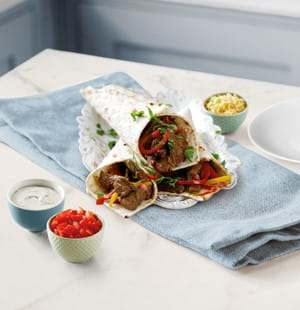 Beef Fajitas with Tangy Yogurt Dip