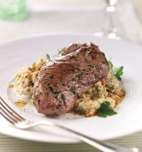 Citrus Lamb Leg Steaks with White Bean Purée
