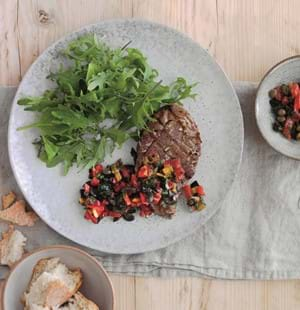 Lamb Leg Steaks with Olive and Red Pepper Tapenade
